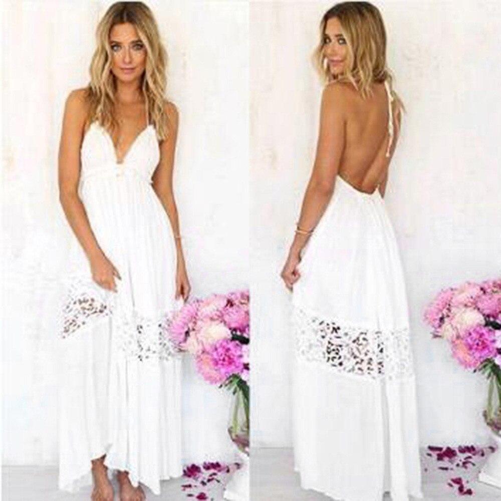 LLPJ181020-11 Women Summer Boho Long Maxi Evening Party Dress Beach Dresses Sundress