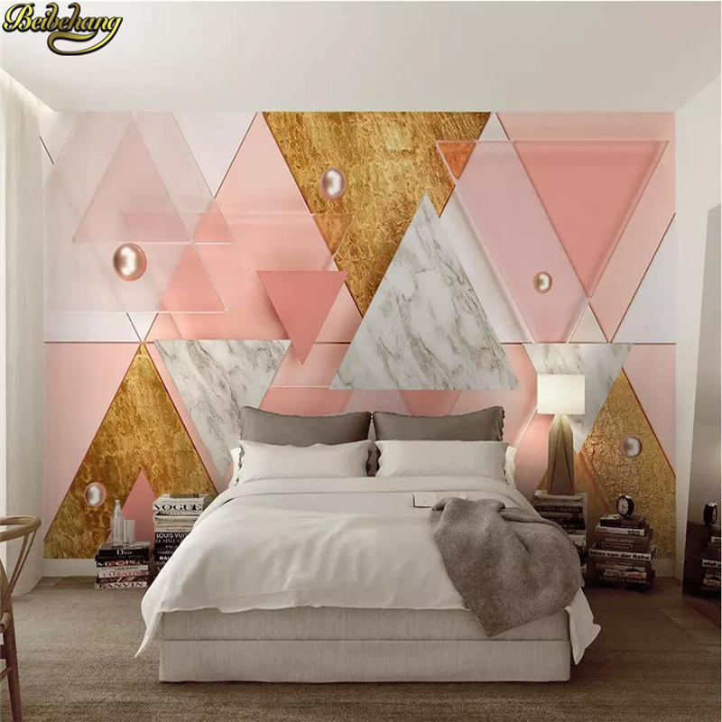 Beibehang Custom Luxury Pink Triangle Modern Geometric 3d Wallpaper For Bedroom Walls Stereo TV Background Flooring Wall Paper