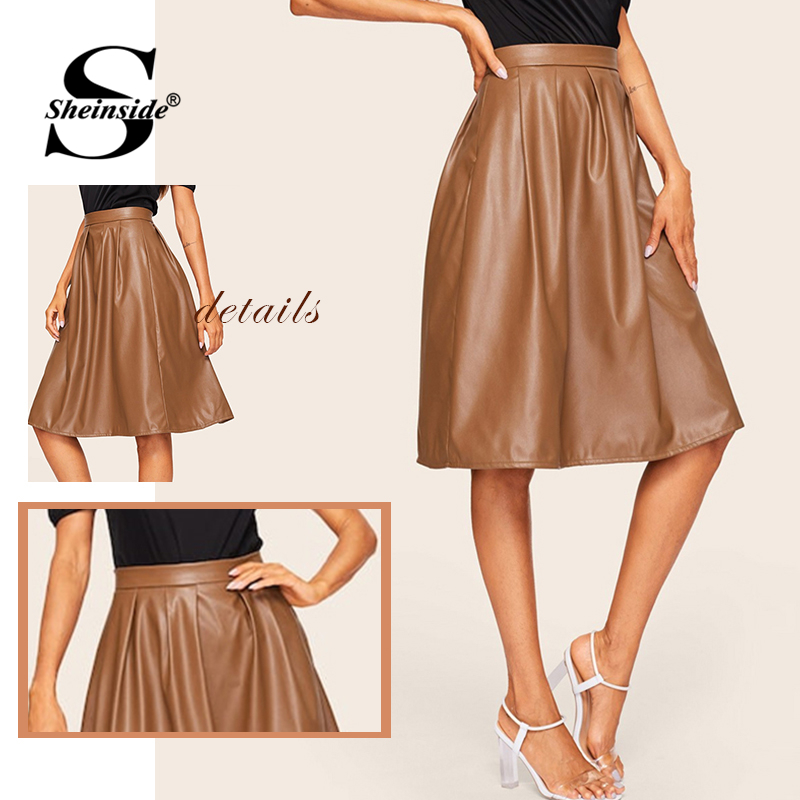 Image 5 - Sheinside Coffee Casual Mid Waist Pleated PU Leather Skirt Women 2019 Spring Solid A Line Skirts Ladies Minimalist Zipper Skirt-in Skirts from Women's Clothing
