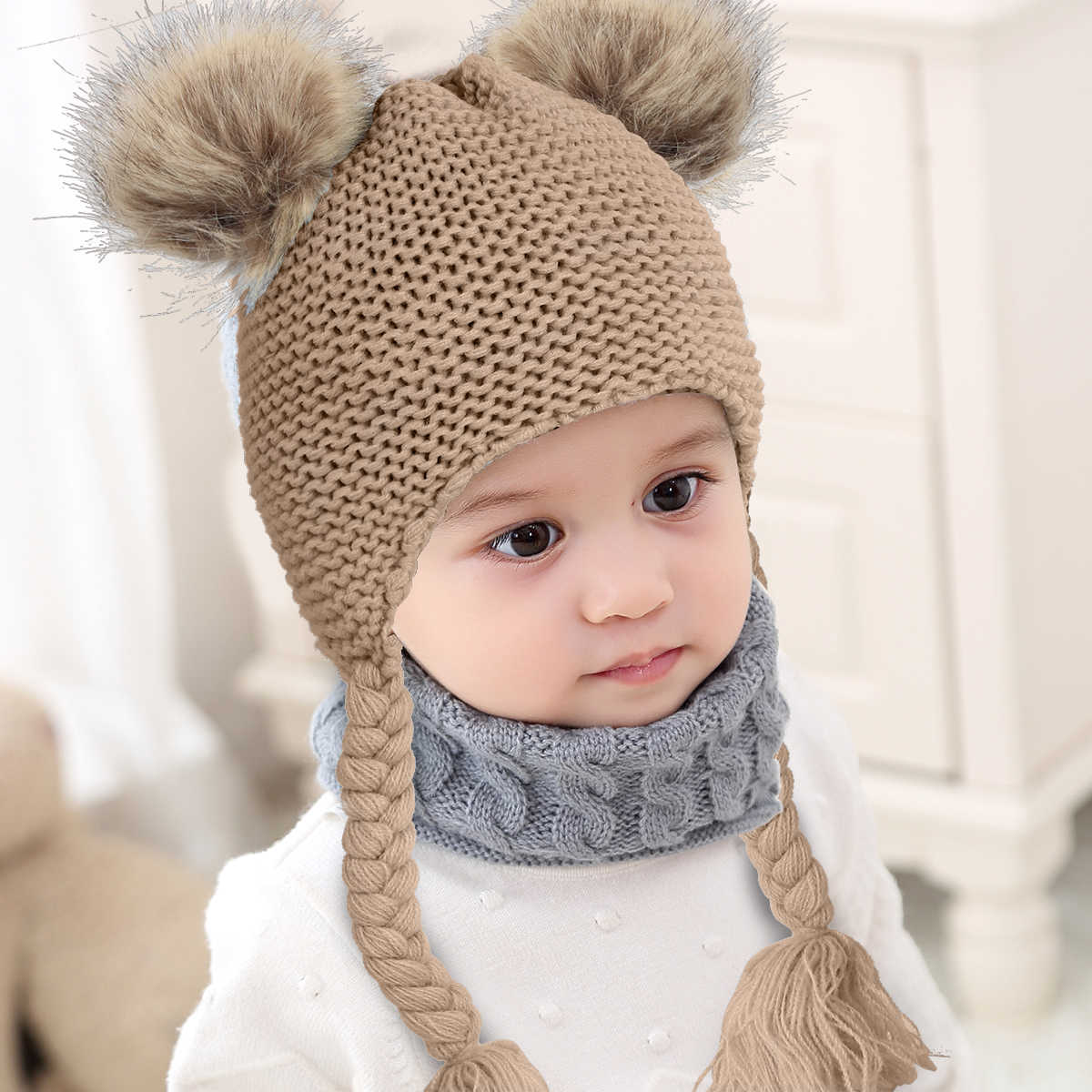 winter warm knit cover cap Infant Baby Toddler Girl Pom Braid Ears Beanie Hat