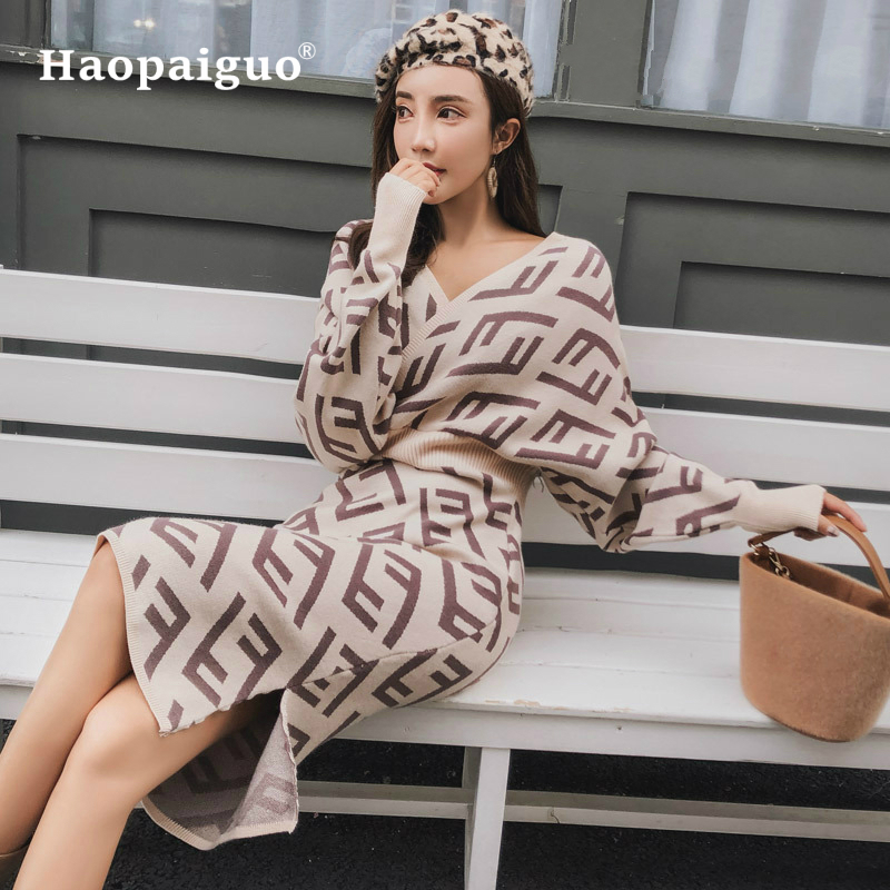 S XL Plus Size Affordable Luxury Knitted Dress Women High Quality Casual Sweater Dress Winter Autumn Lady Bodycon Dress Elegant