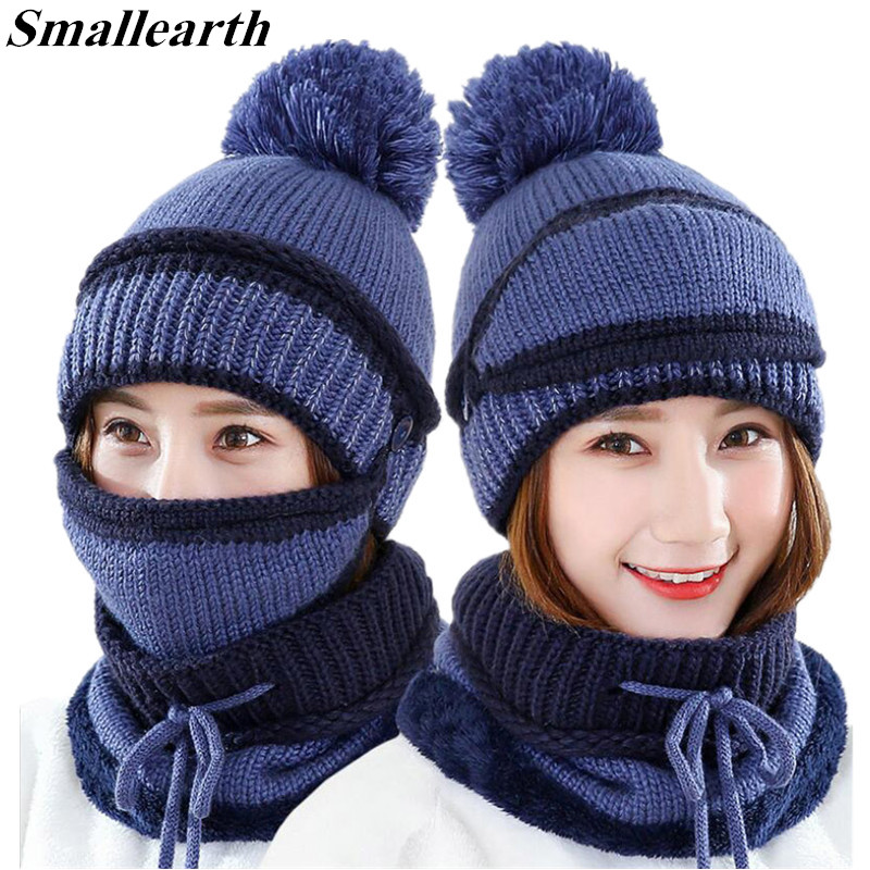 2018 New Knitted Winter Plush Hat Scarf Set Women Thick Cotton Beanies Collar Scarf Female Masks Hat Sets Accessories Girls Gift