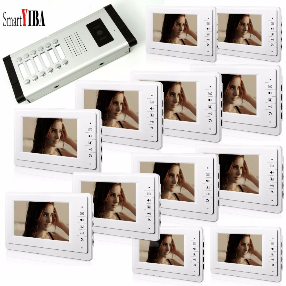 SmartYIBA 7 ''olor видео телефон двери 12/10/8/6/4 Мониторы с 1 внутрнний дверной звонок может управлять 12 домов для многоквартирных