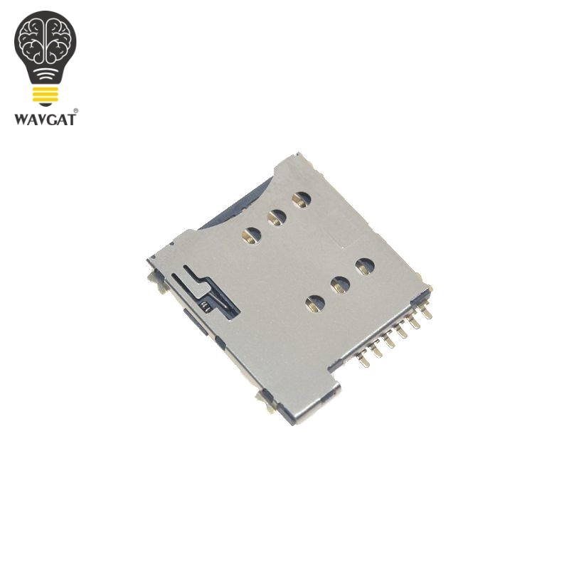 US $0 47 10% OFF|Self push SIM card slot Micro SIM Memory card Holder  adapter connect use for GSM Module SIM800L SIM800C-in Integrated Circuits  from