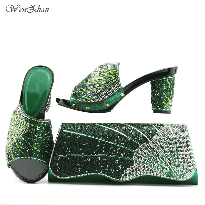 African Green Party Shoes And Bag Set Free Shipping Beauty Woman Heels Pumps Matching Bag Nigerian Wedding Wenzhan Shoes T712-23