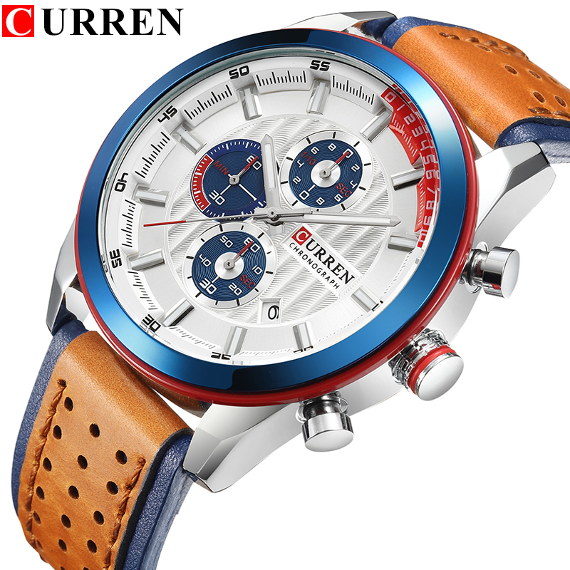 CURREN Brand Wristwatches Fashion New Arrival Calendar Casual Men Watches High Quality Leather Strap Chronograph Quartz watch new arrival curren fashion brand leisure business series watches leather date calendar men waterproof wrist watches brown strap