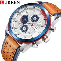 CURREN Brand Wristwatches Fashion New Arrival Calendar Casual Men Watches High Quality Leather Strap Chronograph Quartz watch