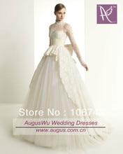 dresses free shipping 2016 bow sashes New Custom Long Sleeves Ivory Lace Tulle Wedding Dresses