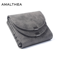 AMALTHEA Wallet Female Purse Short Walet Women Wallets And Purses For Women Coin Purse Double Cover High End 2 Folds Card Holder