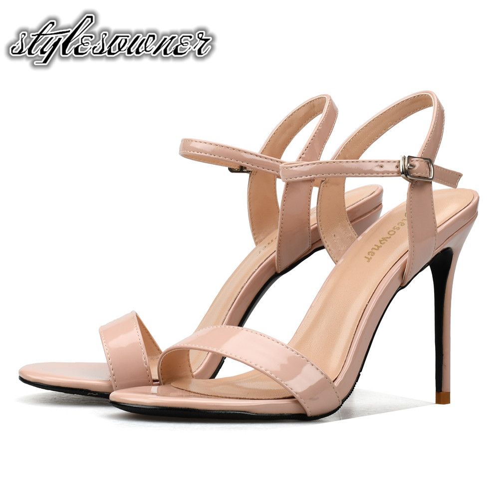 c0f0498f8e8e Stylesowner Euramerican Style Nude Black Color Shallow Open Toe Woman  Sandals Sexy High Heels Patent Leather Sandals Shoes