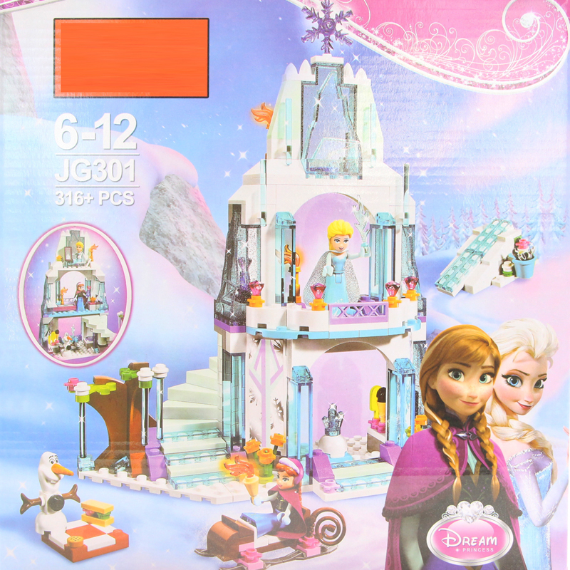 JG301 SY373 Anna Elsa Snow Queen Elsa's Sparkling Ice Castle Building Toys Blocks Brick Compatible with blocks Toys gift jg303 building blocks arendelle castle princess anna elsa buildable snow queen figures sy371 with blocks kids toys gift page 8