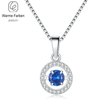 Warme Farben Crystal  925 Silver Pendant Necklaces Classic Circle Moving Fine Jewelry Collares for Women