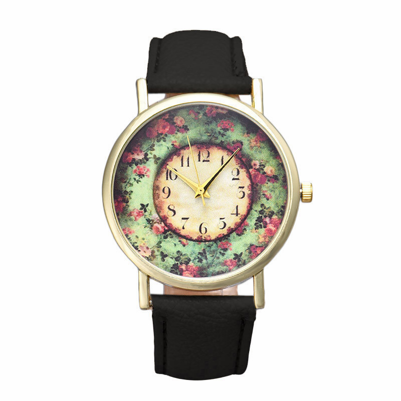 Pastorale Floral Watch Women Clock Vogue Leather Wrist Watch Reloj Mujer 2018 Woman Brand Analog Quartz Dial Watches Lady #N fabulous 2016 quicksand pattern leather band analog quartz vogue wrist watches 11 23
