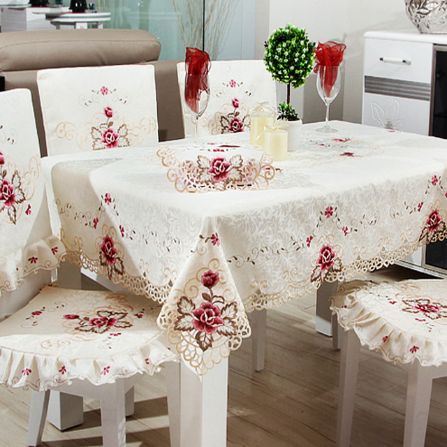Hot Idyllic Wedding Tablecloths Polyester Cloth Cover Towel Multi Purpose Coffee  Table Cloth