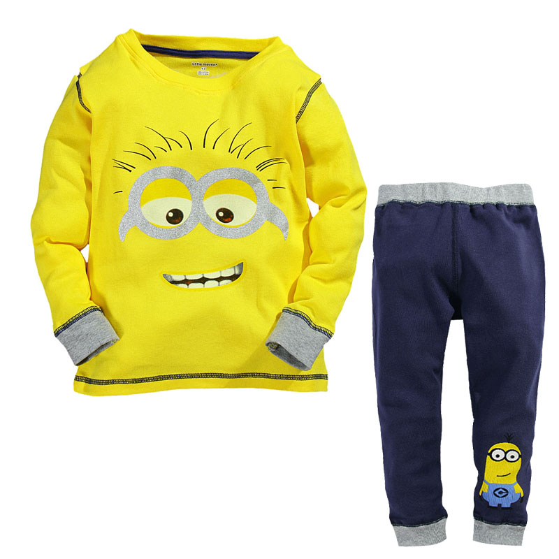 2~14 Years Cute Minions Pajama Set For Kids Clothes Boys Girls Cotton Long Sleeve Christmas Gift Clothing Sets