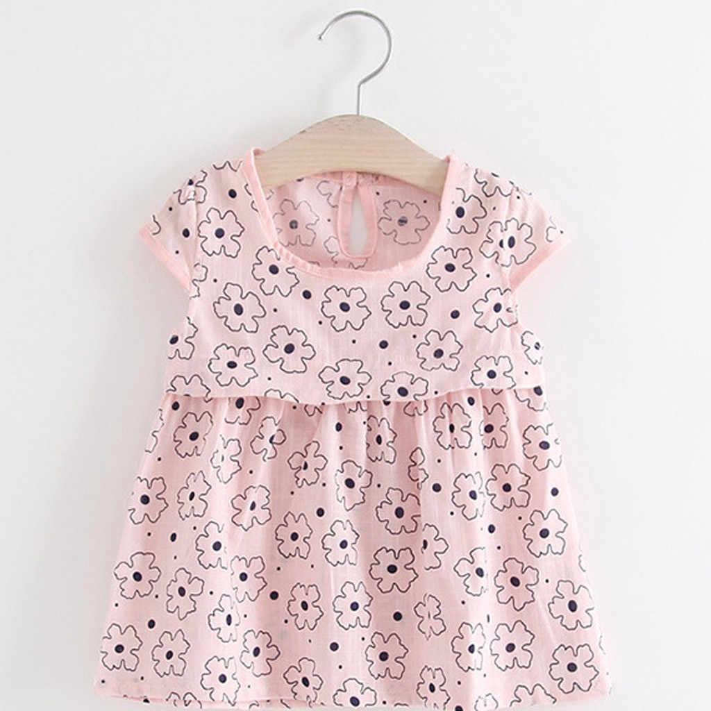 TELOTUNY/модное повседневное праздничное платье принцессы с цветочным рисунком для маленьких девочек, одежда 2019 новое платье для малышей, Z0208