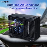 KROAK 12V 35W 2 Speed Portable Mini Home Car Cooler Cooling Fan Water Ice Evaporative Car Air Conditioner for Car Black