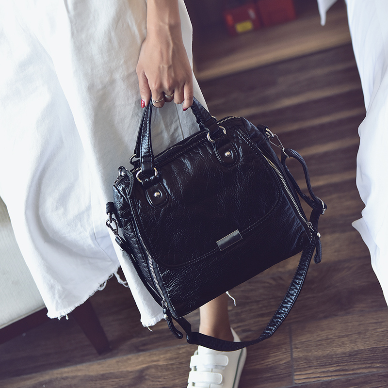 Fashion female bags water washed soft leather handbag casual motorcycle soft women s messenger bag black