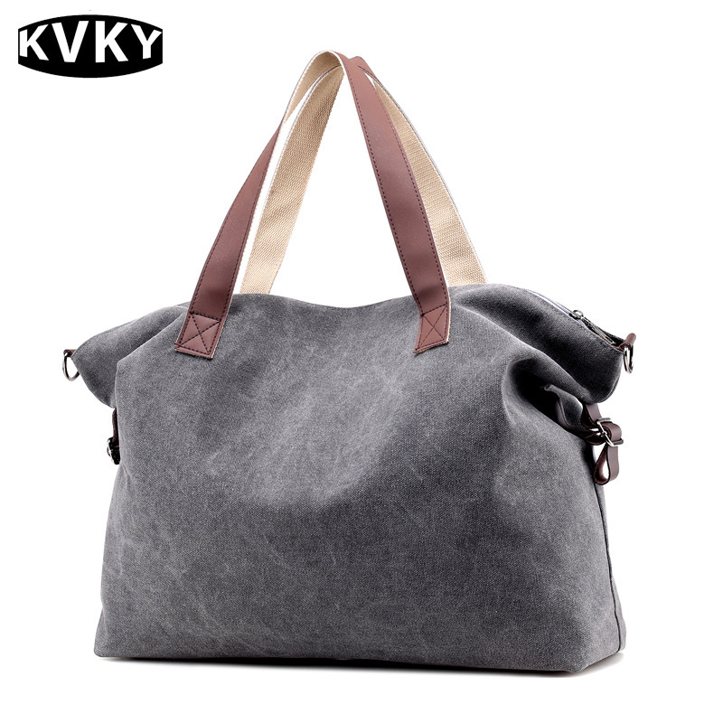 KVKY 2017 New Vintage Woman Canvas Handbags Large Capacity Casual Tote Women Shoulder Bag Ladies Shopping Messenger Bags