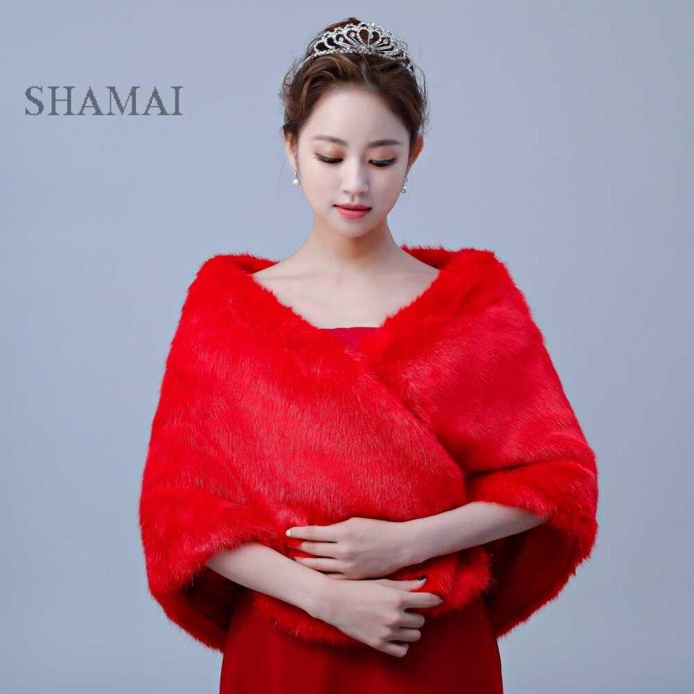 SHAMAI Red Faux Fur Winter Bridal Wraps Warm Fur Boleros Bridal Cape Evening Coat Wedding Jacket Bridesmaids Wrap Free Shipping