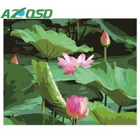 AZQSD Painting By Numbers Frameless 40x50cm Beautiful Pink Lotus Oil Painting Picture By Numbers On Canvas