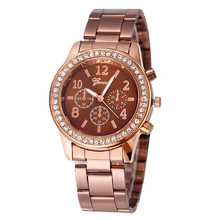 special designed Geneva Fashion Unisex Casual Faux Chronograph Quartz Classic Round Ladies Women Crystals Watch Rose Brown