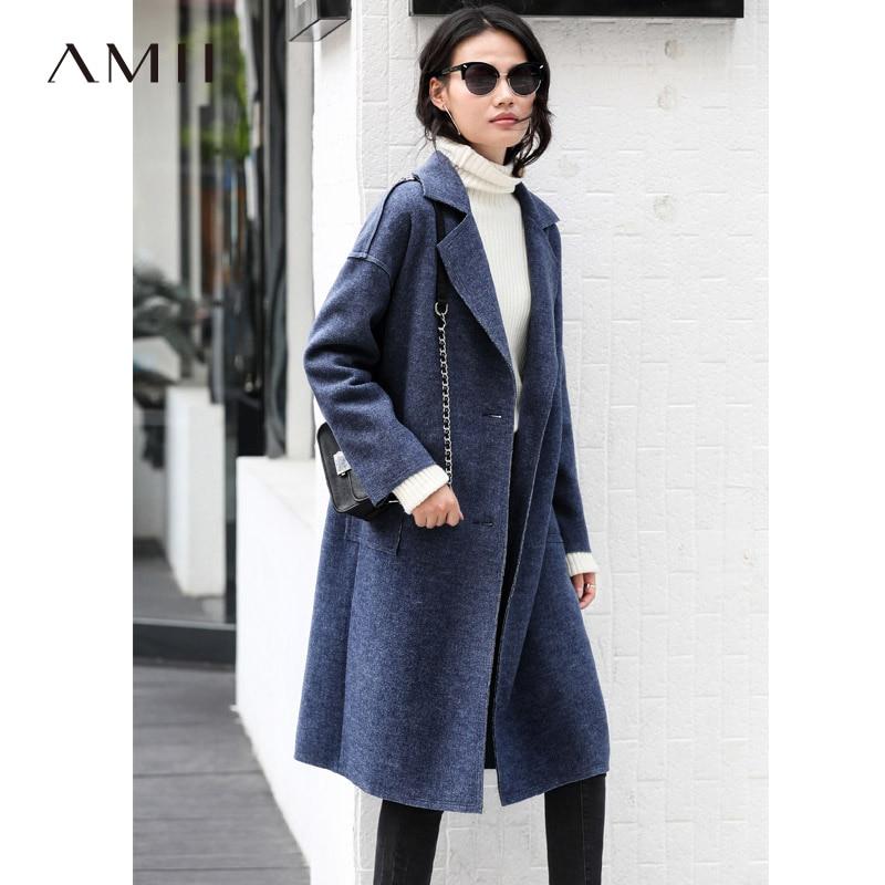 Amii Minimalist Women Woolen Coat Autumn Winter 2018 Causal Solid Turn Down Collar Pockets Blue Yellow