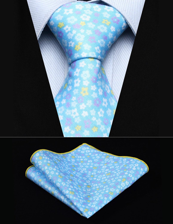"TMF107B8S Blue White Floral 3.4"" Cotton Printed Men Tie Handkerchief set Party Wedding Classic Pocket Square Tie"