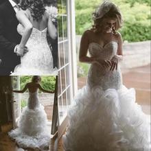 Elegant Mermaid Wedding Dresses 2019 vestido de noiva Sweetheart Ruffle Organza Bridal Gowns Custom Made gelinlik