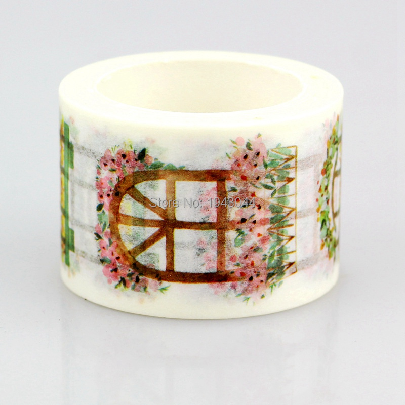 Wide Flower Window Japanese Washi Tape 30mm/20mmx7m Kawaii Scrapbooking Tools Masking Tape Christmas Photo Album Diy Decor Tapes