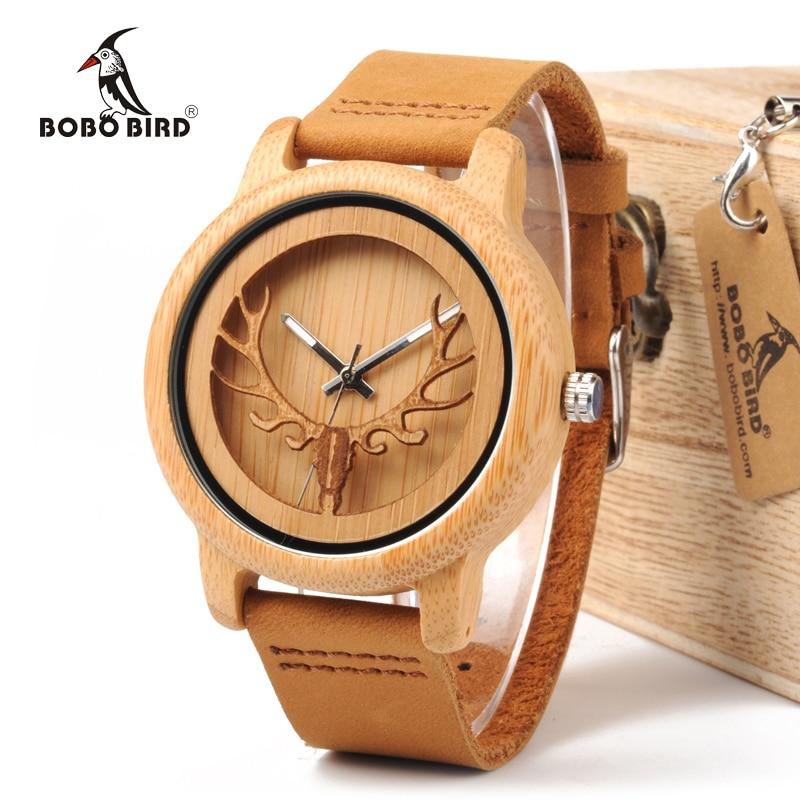 BOBO BIRD WA27 Skeleton Watch With Deer Buck Head Design Bamboo Wood Quartz Watches Real Leather