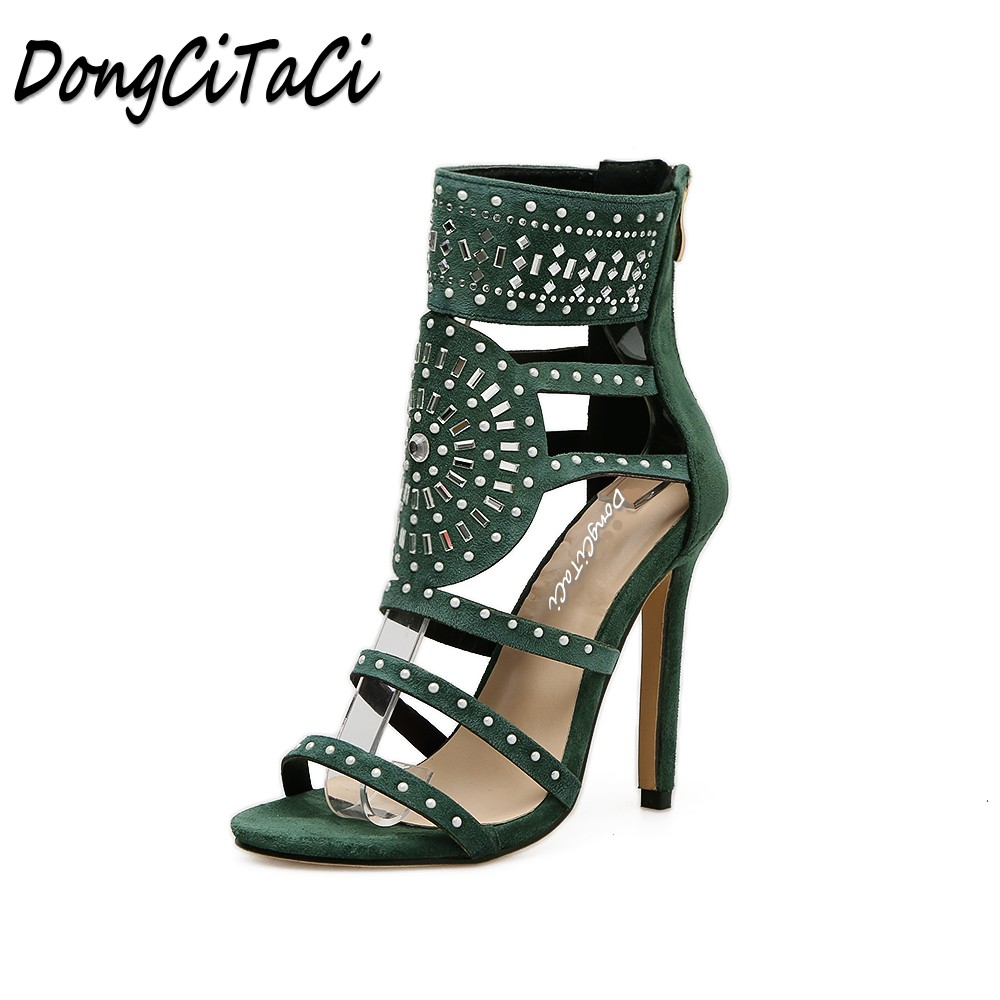 DongCiTaCi Summer Women Open toe High heels Sandals Shoes Woman Pumps Ladies Fashion Hollow out sexy Gladiator Crystal Sandals brand new stiletto high heels sandals gladiator women sexy platform rome style shoes summer ladies open toe buckle pumps fashion