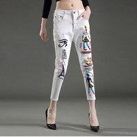New jeans woman Cool white exotic style paint skinny jeans pencil pants denim fashion slim body feminino capris jeans NZ96