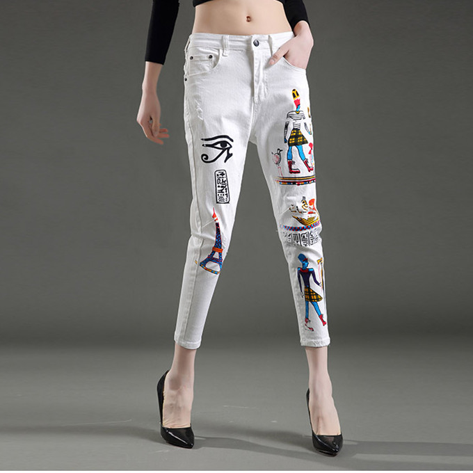 New jeans woman Cool white exotic style paint skinny jeans pencil pants denim fashion slim body feminino capris jeans NZ96