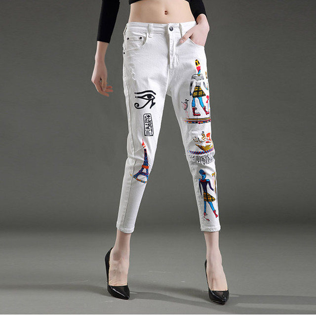 New Jeans Woman Cool White Exotic Style Paint Skinny Pencil Pants Denim Fashion Slim Body Feminino Capris Nz96