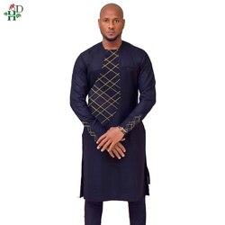 H & D 2019 frühling sommer afrikanische kleidung afrika männer dashiki kleidung männlichen herren top pant outfit anzüge zwei 2 stück set stickerei