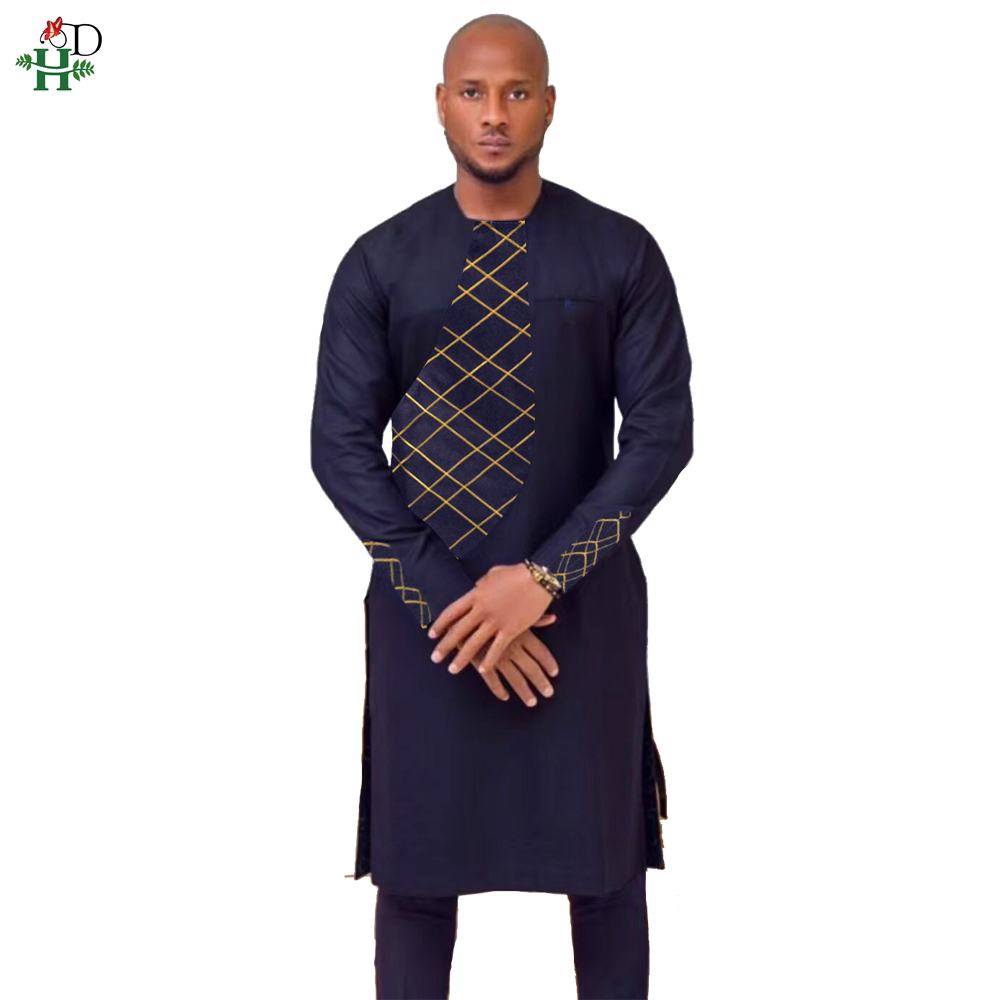 H&D 2019 Spring Summer African Clothes Africa Men Dashiki Clothing Male Mens Top Pant Outfit Suits Two 2 Piece Set Embroidery