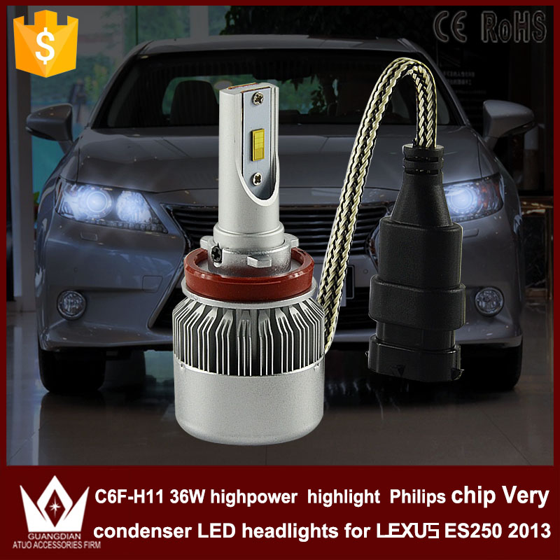 GuangDian car led light h11 Spot Headlight Head lamp low beam Dipped beam h11 C6F 6000K white 12V 36W  for LEXUS ES250 2013 only