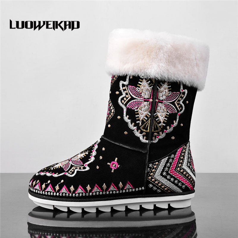 Embroidered Winter Shoes Fashion Daily Women Botas Wide Calf Available Boots Low Heel Embroidery Winter Snow