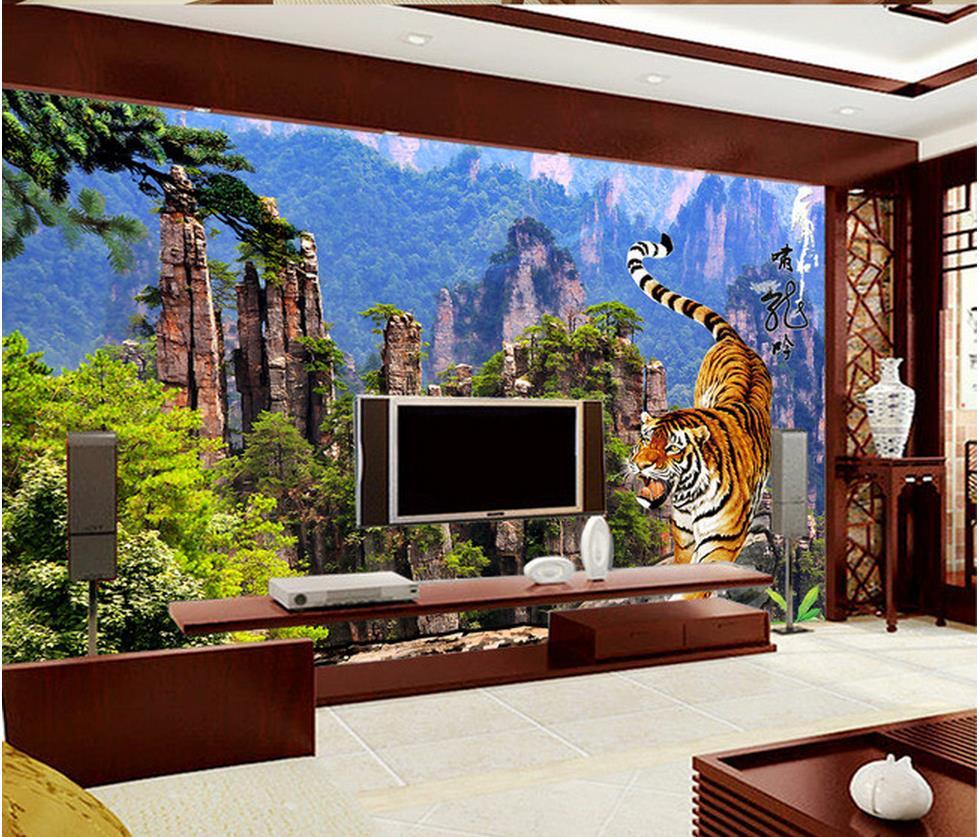 online get cheap photo wall mural aliexpress com alibaba group 3d wall murals home decoration tiger beautiful mountain tv background wall photo wall murals wallpaper
