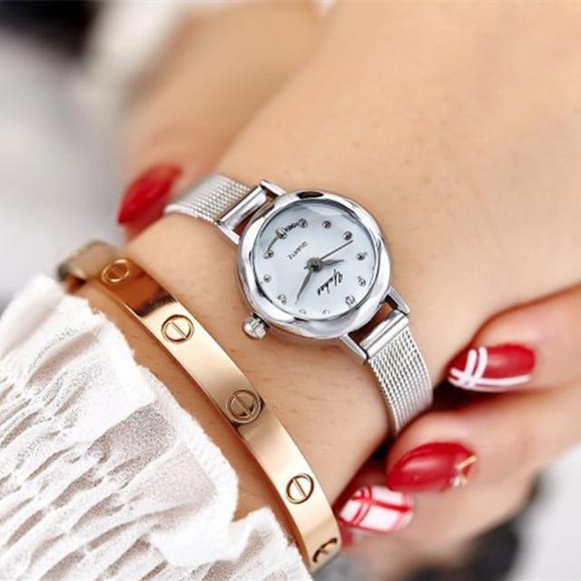 Fashion Bracelet Watches Women Gold Luxury Brand Stainless Steel Quartz Watch For Ladies Casual Dress Rhinestone Wristwatches