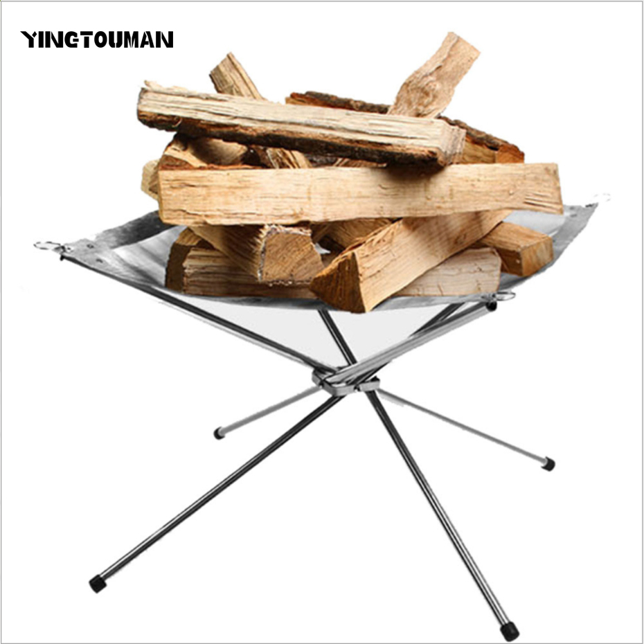 YINGTOUMAN pliant acier inoxydable brûler solide cadre de carburant ultra-léger rapide chauffage poêle bois charbon de bois feu Rack bois feu Rack