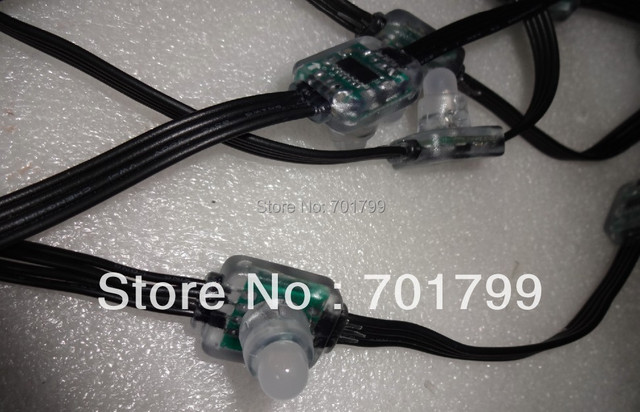 DC5V WS2801 12mm Diffused Flat Digital RGB LED Pixels;with all black wire,50pcs a string;IP66