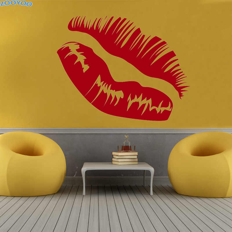 ZOOYOO Kissing Sexy Lip Wall Sticker Home Decor Accessories Modern Art Vinyl Removable Living Room Decoration Murals Decals