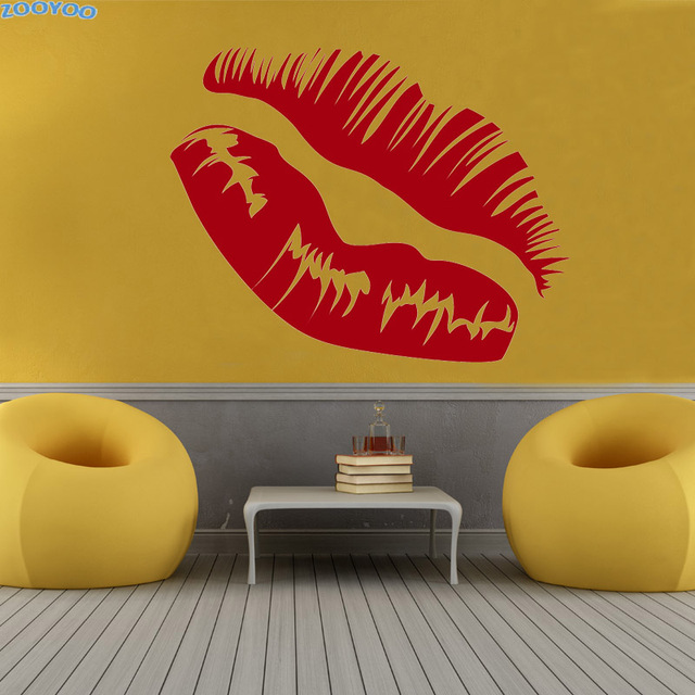 ZOOYOO Kissing Sexy Lip Wall Sticker Home Decor Accessories Modern ...