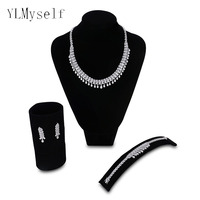2019 New Big Luxury jewelry sets involved Necklace+Bracelet+earring+free ring Wedding party water drop bridal jewellery set