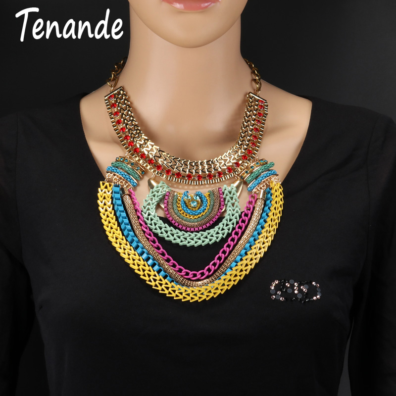 Tenande Noble Jewelry Ethnic Gold Color Tribal Choker Necklaces Maxi Round Crystal Statement Necklaces For Women