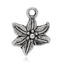 20Pcs Antique Silver Tone Easter Lily Flower Charms Pendants Jewelry Findings 16x13mm