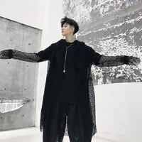 Male Streetwear Hip Hop Punk Gothic Long Cardigan Cloak Jacket Robe Summer Windbreaker Men Mesh Hollow Casual Hooded Trench Coat