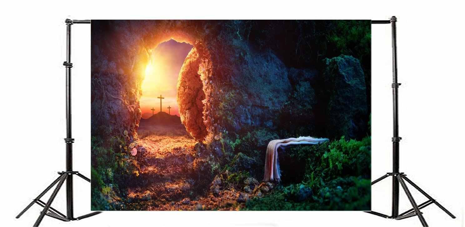 عبر خلفية يسوع نجا الجبلية الكهف باب على شكل قوس الأخضر النباتات المقدسة أضواء الشروق الخلفيات للتصوير سعيد عيد الفصح